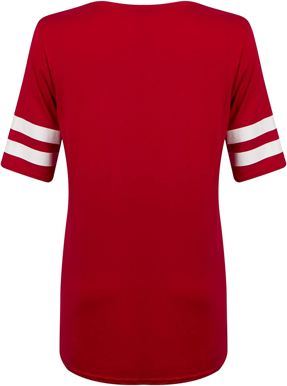 Womens Ladies Number 85 Print Striped Varsity Long Ovrsized Baggy Tshirt Top