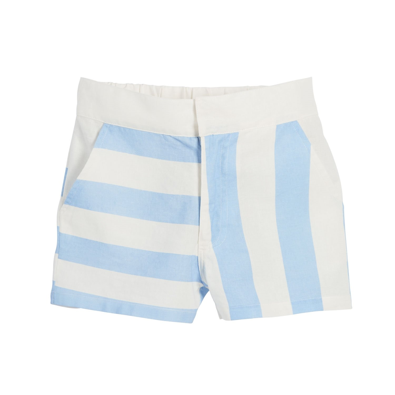 Beachcombers Girls Linen/Cotton Mixed Stripes Shorts Blue Extra Large
