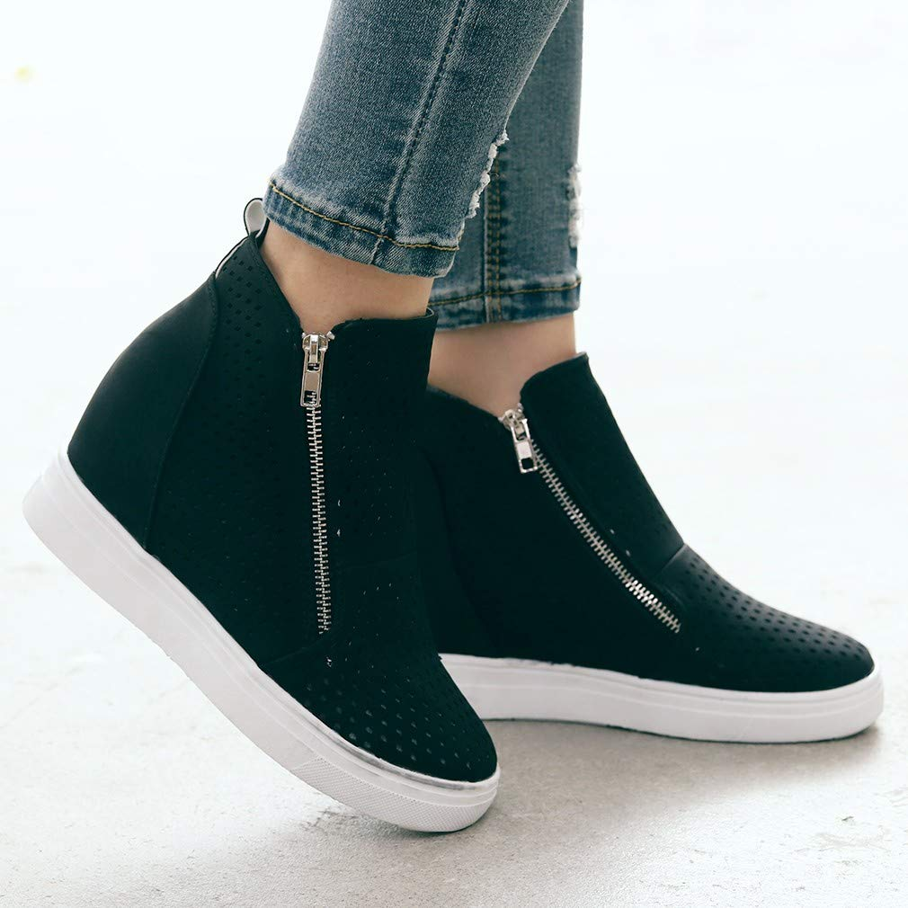 Round Toe Boots,Women Sole Hollow Zipper Ankle Flat Shoes