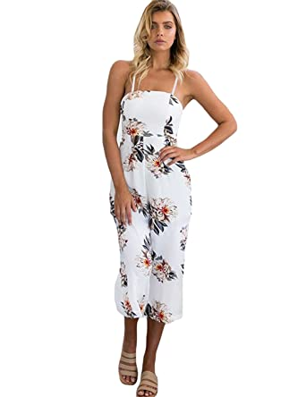 69ec907761 Amazon.com  Womens Jumpsuits Summer Floral Pattern Playsuit Halter  Sleeveless Long Beach Bohemian Jumpsuit Rompers  Clothing