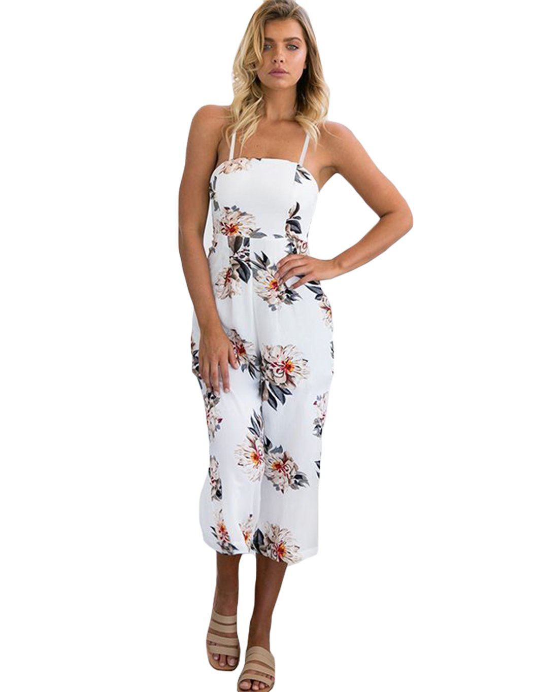 Womens Jumpsuits Summer Floral Pattern Playsuit Halter Sleeveless Long Beach Bohemian Jumpsuit Rompers