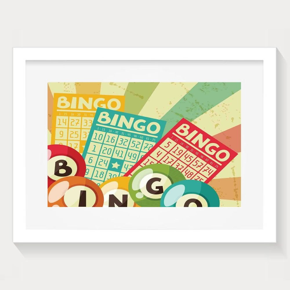 HUANGLING Bingo Game With Ball And Cards Pop Art Stylized Lottery Hobby Celebration Framed Wall Art Prints For Home Decoration by HUANGLING