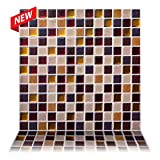 """kitchen back splashes Tic Tac Tiles - 12"""" x 12"""" Premium Anti Mold Peel and Stick Wall Tile in Square Maple (5 Tiles)"""