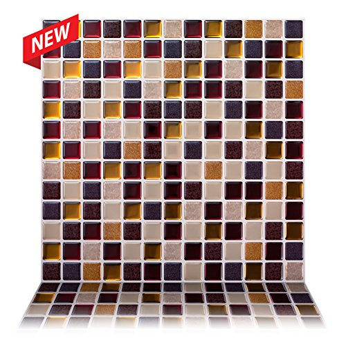 """Tic Tac Tiles - 12"""" x 12"""" Premium Anti Mold Peel and Stick Wall Tile in Square Maple (5 Tiles)"""
