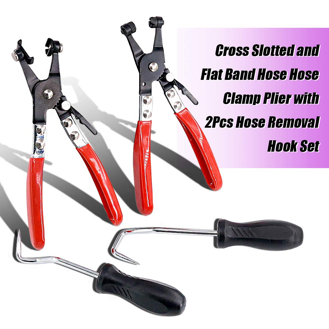 Swpeet 4Pcs Hose Clamp Plier Set Including 2Pcs Cross Slotted and Flat Band Hose Hose Clamp Plier with 2Pcs Hose Removal Hook Set Perfect for Hose Installations of Low Radiators