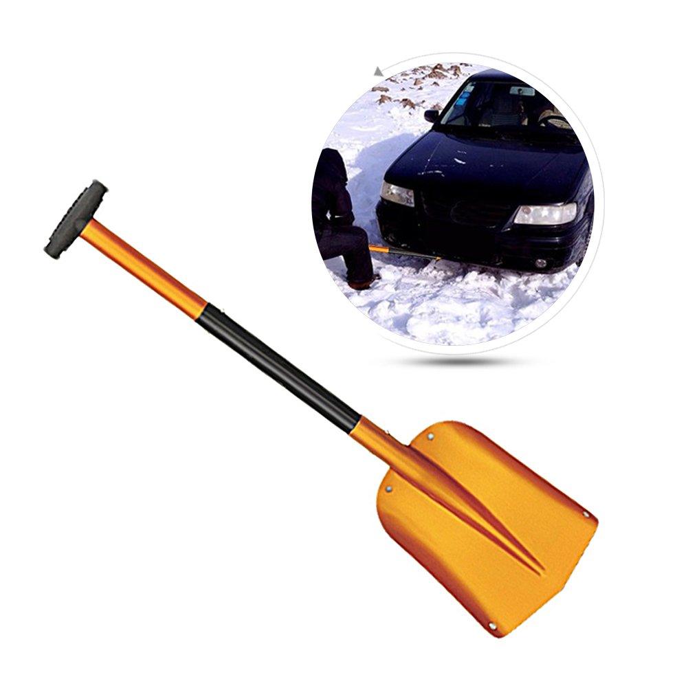 Portable Telescopic Adjustable Camping Snow Shovel Retractable Lengthen Snow Removal Shovel Car Aluminum Large Snow Shovel Removal Tool Car(Blue) blue--net