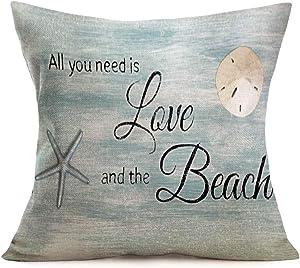 "Royalours Throw Pillow Covers Ocean Marine Animal Decorative Pillow Covers Cotton Linen Summer Beach Cushion Covers Coastal Theme Home Sofa Bench18""x 18"" (Seashell-Need)"