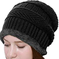 ADBUCKS Snow Proof Inside Fur Unisex Wool Beanie Cap Thick Fleece Lined Winter Hat for Men & Women