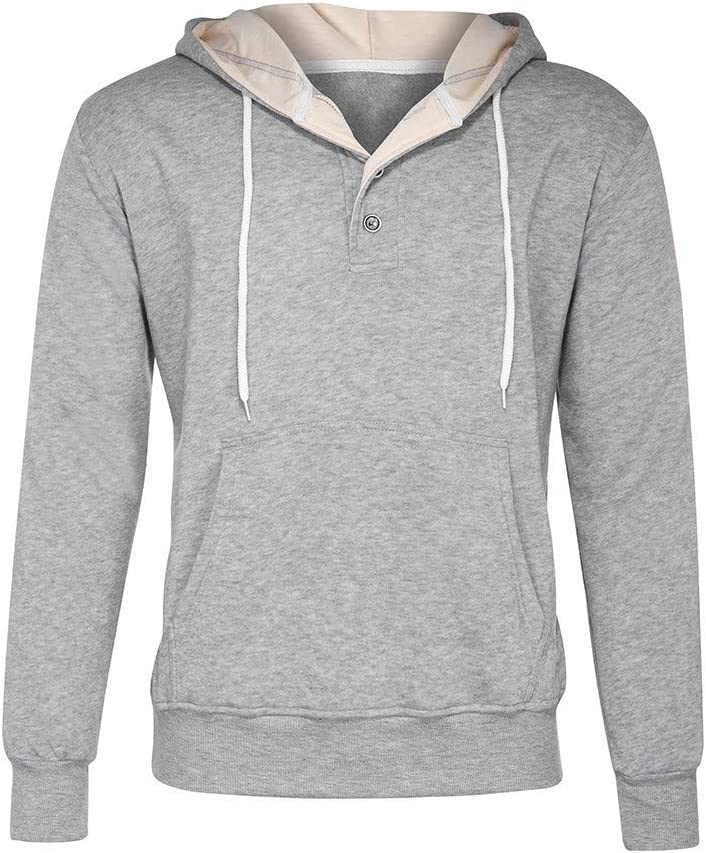 NSJIB Mens Hooded Casual Hoodie Male Summer Long-Sleeved Solid Color Sweatshirt