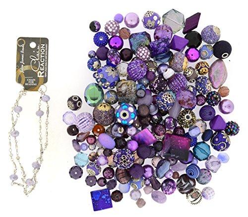 Jesse James Beads Premium Purple Mix-Plus Free 18 inch Beaded Chain