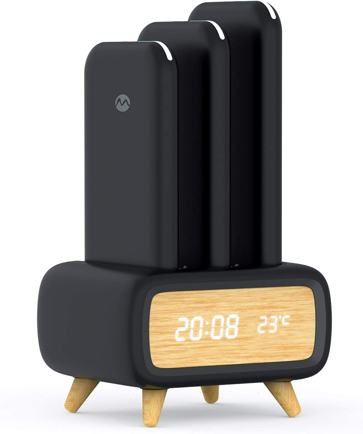 Mangata Orion [24,000 mAh Wireless Powerbank Charging Station] 3X 8000mAh Power Bank Set with Dock for Home & Office | Clock, Temperature Display (Black)