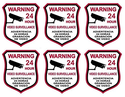 6 Pcs Extreme Popular Video Surveillance Stickers Sign 24 Hour CCTV Home Warning Being Watched Size 3.5