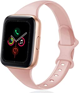 DYKEISS Sport Slim Silicone Band Compatible for Apple Watch Band 38mm 42mm 40mm 44mm, Thin Soft Narrow Replacement Strap Wristband for iWatch Series 5/4/3/2/1 Women & Men (Sand Pink, 38mm/40mm)