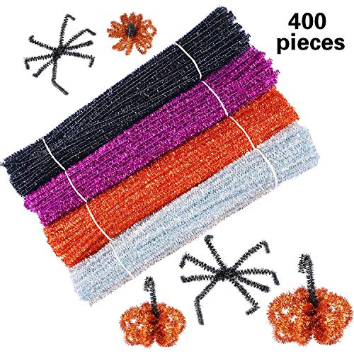 WILLBOND 400 Pieces Halloween Pipe Cleaners Craft Pipe Cleaners Glitter Chenille Stems Creative Arts Chenille Stems for DIY Craft Halloween Decoration, 12 Inches (Black, Purple, Bronze,
