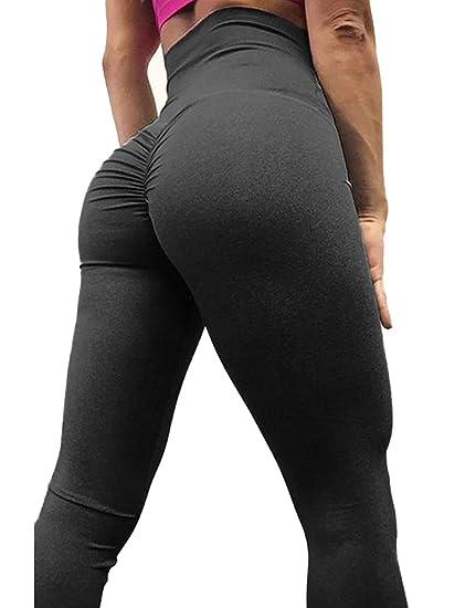 ad562d597f Amazon.com: Aventy Women Scrunch Butt Lift Yoga Pants Back Ruched Leggings  High Waist Waistband Workout Sport Fitness Gym Tights Hip Push Up (Black):  ...