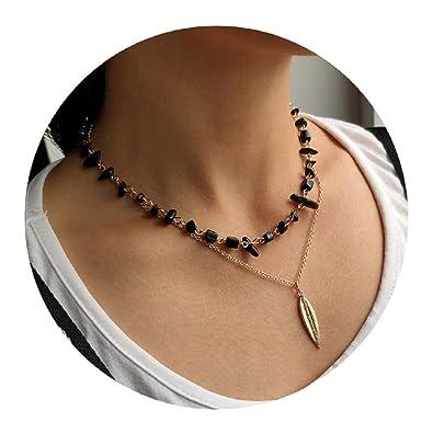 da1624bec501 Artilady Layered Necklace Gold Choker - Natural Stone Choker Necklace Black  Agate Beaded Crystal Leaf Pendant