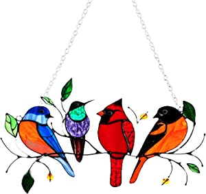 S SOORIYAN Multicolor Birds on a Wire High Stained Ornament Glass Suncatcher Window Panel, Bird Series Hanging Ornaments Pendant Home Decoration, Windows Decor, Gifts for Bird Lover (4)