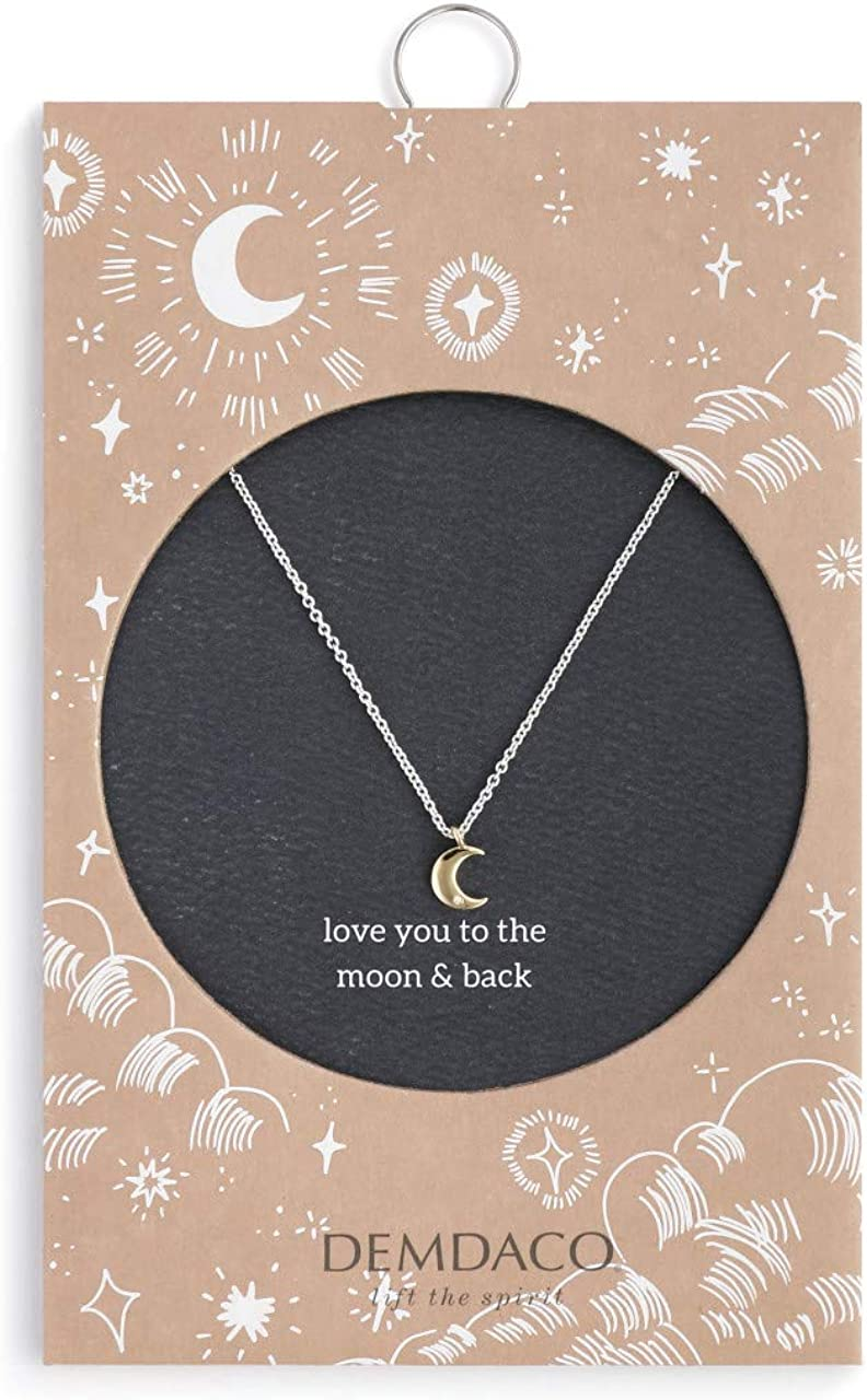 DEMDACO Love You Crescent Moon Gold Tone 16 inch Brass Metal Chain Pendant Necklace