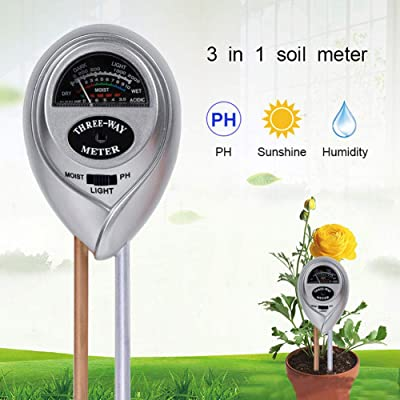 Emoly Soil pH Meter, 3-in-1 Soil Testing Kit with Moisture, Light and PH Tester for Plant, Vegetables,Garden, Farm, Lawn, Indoor & Outdoor (No Battery Needed) - Silver: Electronics