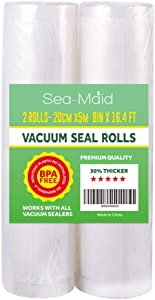 "Sea-Maid Vacuum Sealer Bags Rolls 2 Pack 8""x16.4' Food Saver Commercial Food Storage Rolls for Seal a Meal Weston Sous Vide Seal Bags BPA Free Heavy Duty"