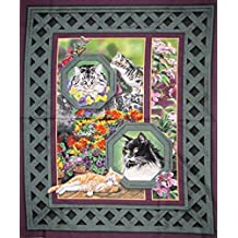 """""""Wild Wings"""" Cats in the Garden Cotton Fabric Panel (Great for Quilting, Sewing, Craft Projects, a Child's Quilt & More) 44"""" x 35"""" Wide"""