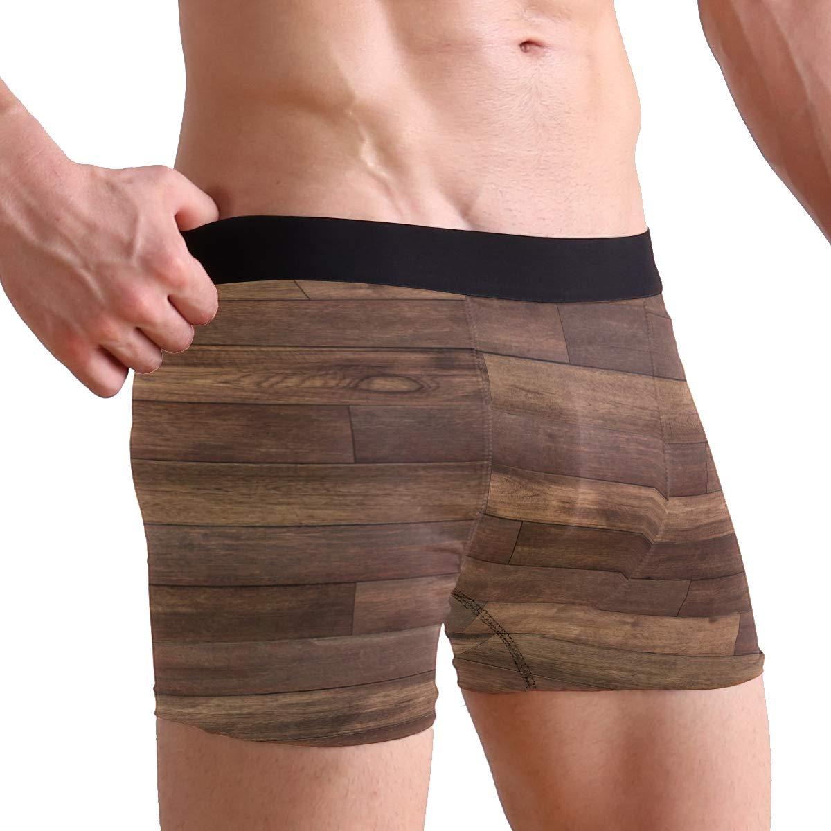 SUABO Mens 2-Pack Boxer Briefs Polyester Underwear Trunk Underwear with Wood Design