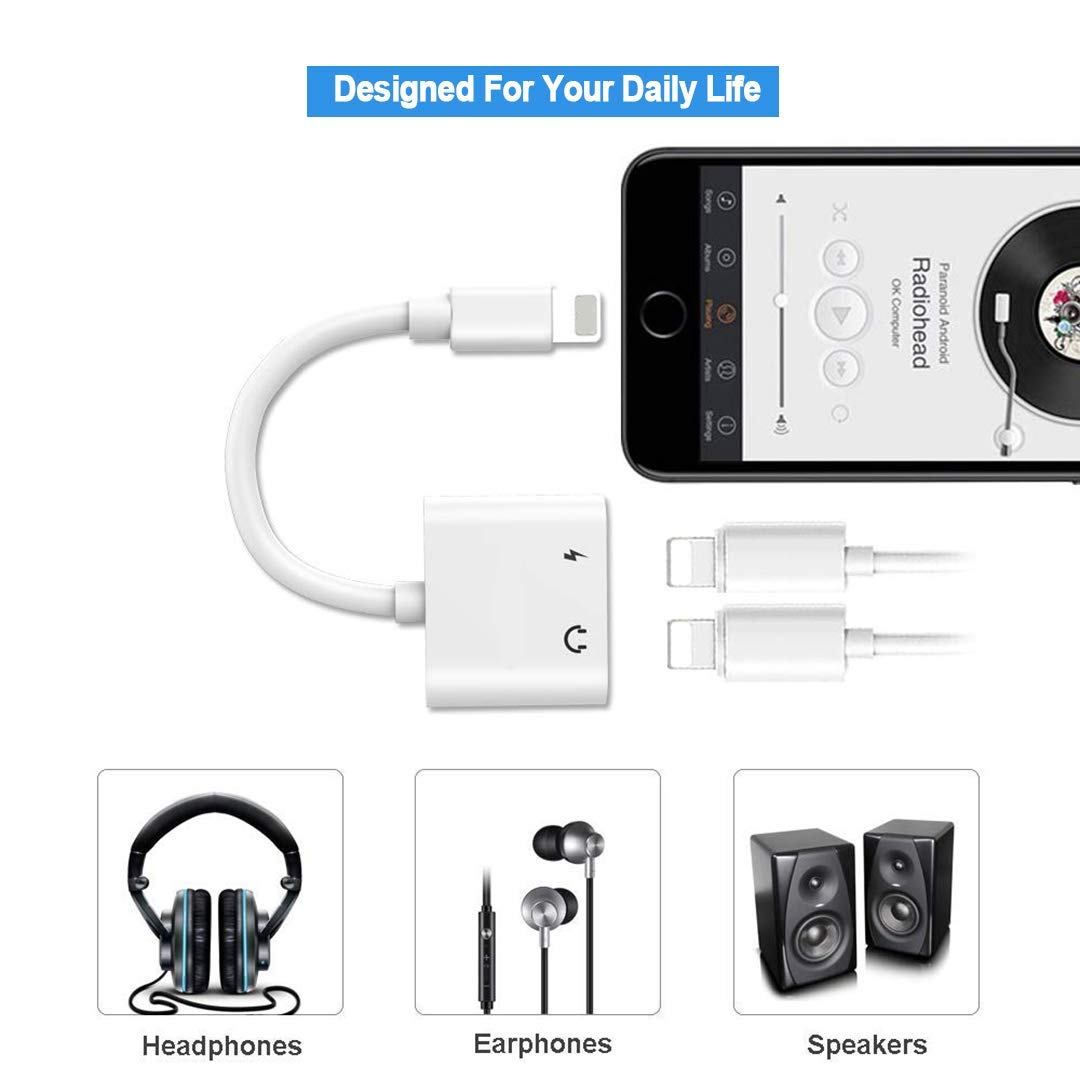finest selection d63c2 7c40e Headphone Adapter splitter cable for headset iPhone x Adapter AUX Audio  Jack Charge Adapter Car Charger [Audio+Charge+Call+Volume Control ] Dual ...