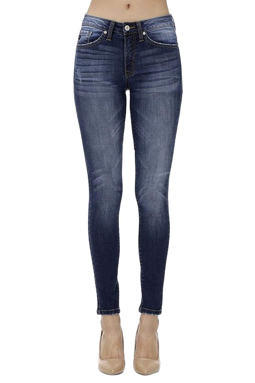 Dark Denim Kancan Women's Mid Rise Skinny Jeans KC7095