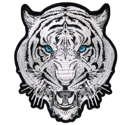 White Tiger Embroidered Vest back Iron on Biker [9 X 8 Inches] patch