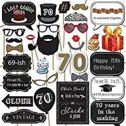 70th Birthday Photo Booth Props with 31 Printed Pieces Wooden Sticks and Strike a Pose Sign by Sunrise Party Supplies