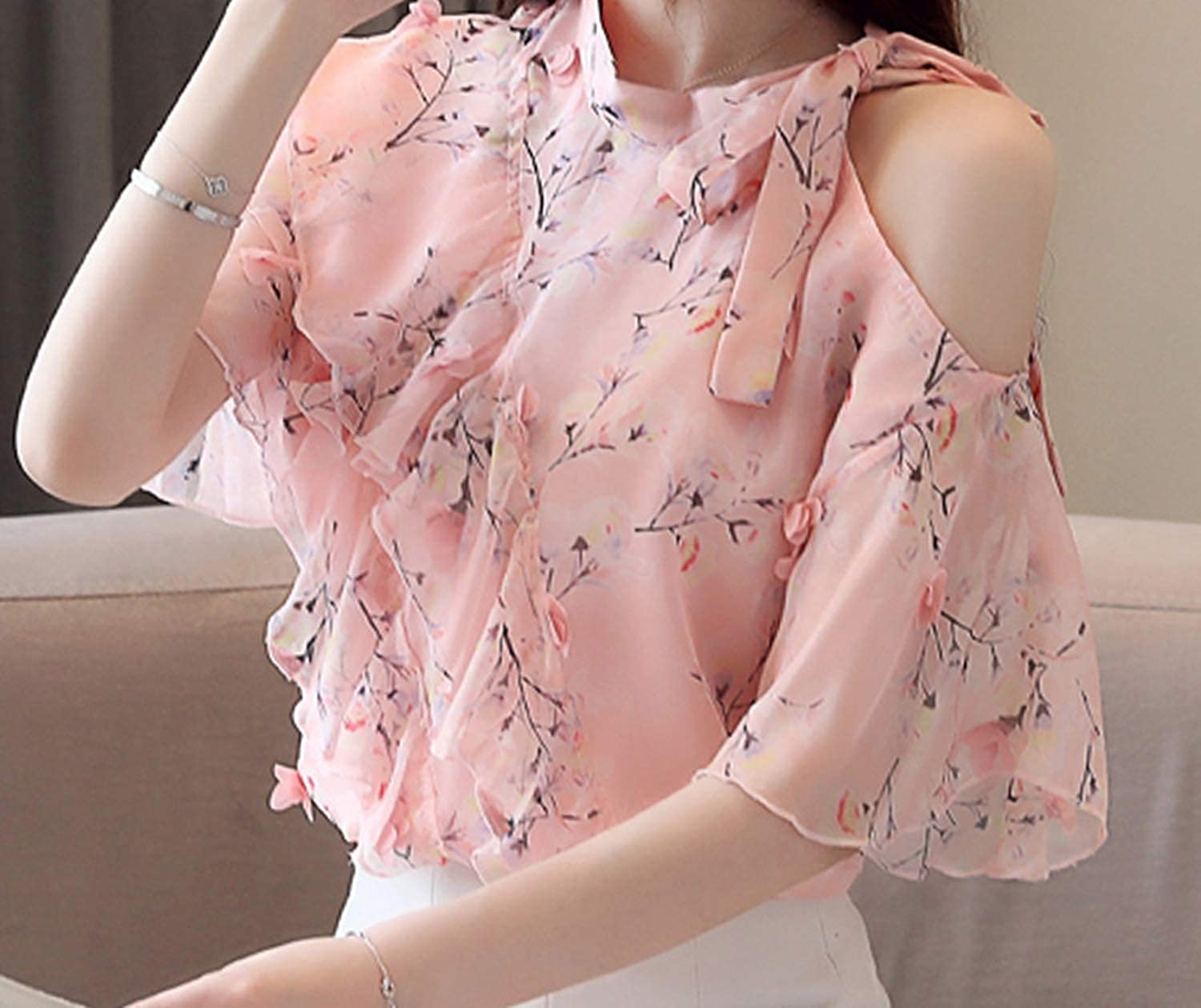 Off Shoulder Tops Blusas Mujer Print Chiffon Blouse Women Blouses Short Sleeve Tops Womens Tops and Blouses