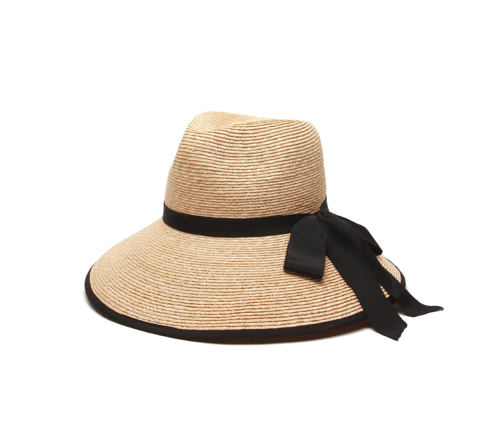 Gottex Women's Silene Packable Fine Milan Straw Sun Hat, Rated UPF 50+ for Max Sun Protection, Natural/Black, One Size