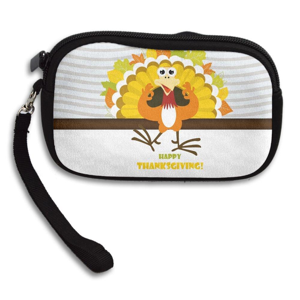 Jimres Fashion Women Lady Wristlet Bag Small Wallet With Zipper Girls Coin Purse Happy Thanksgiving Turkey Pattern Wallets Clutch Bag Handbag