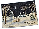 """Unique & Custom {13'' x 18'' Inch} Single Pack of Rectangle """"Non-Slip Grip Texture"""" Large Table Placemat Made of Washable Cotton & Polyester w/ Christian North Star Design [Colorful Blue & White]"""