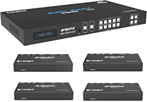 AVIshop 4x8 4x4 4KHDBaseT HDMI Matrix Switcher w/ 4 PoC HDBasT Receivers (CAT5e or CAT6). HDCP2.2 HDTV Routing Selector SPDIF Audio Control 4 Savant Home Automation with Bi-Directional IR (Matrix+4RX)