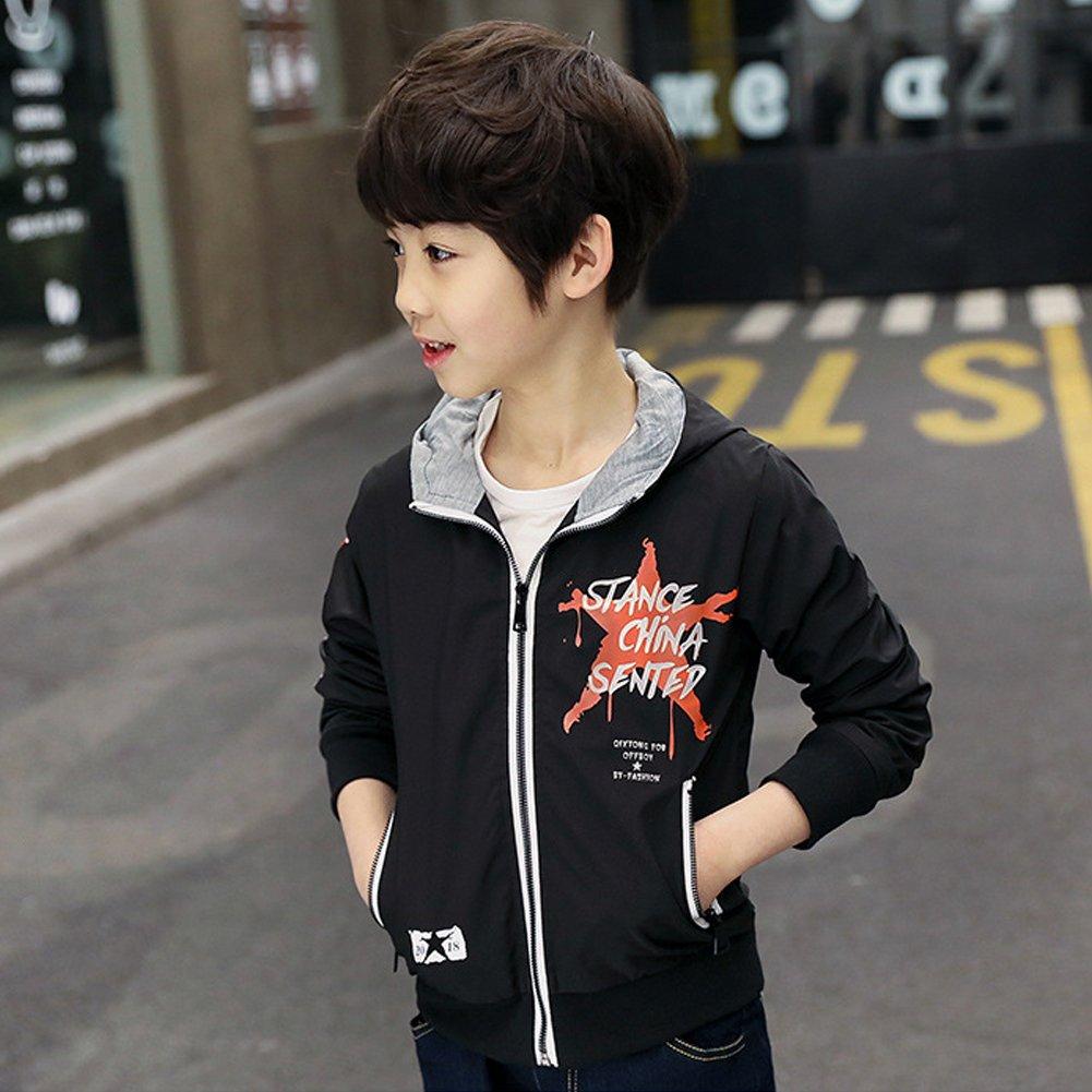M/&A Boy Hooded Windbreaker Spring Autumn Jacket Outwear