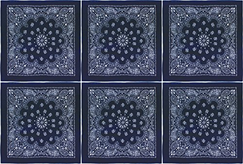 6 Pack - Trainmen Paisley Cotton Biker Headwrap Jumbo Bandanas 27