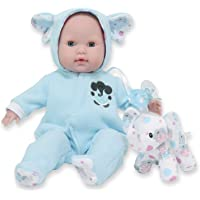 """JC Toys 15"""" Realistic Soft Body Baby Doll with Open/Close Eyes Berenguer Boutique   Elephant Hooded Onesie Theme Blue…"""