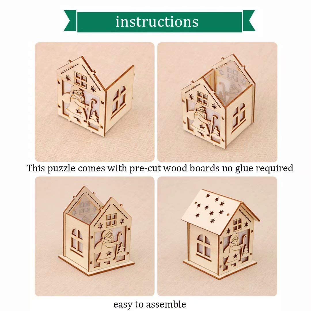 Wood Craft Kits Unfinished Small Houses 3D Cutting Wooden Puzzle Toy for Kids and Adults Build Your Own Perfect Decoration-Including 7 pcs xuanyun