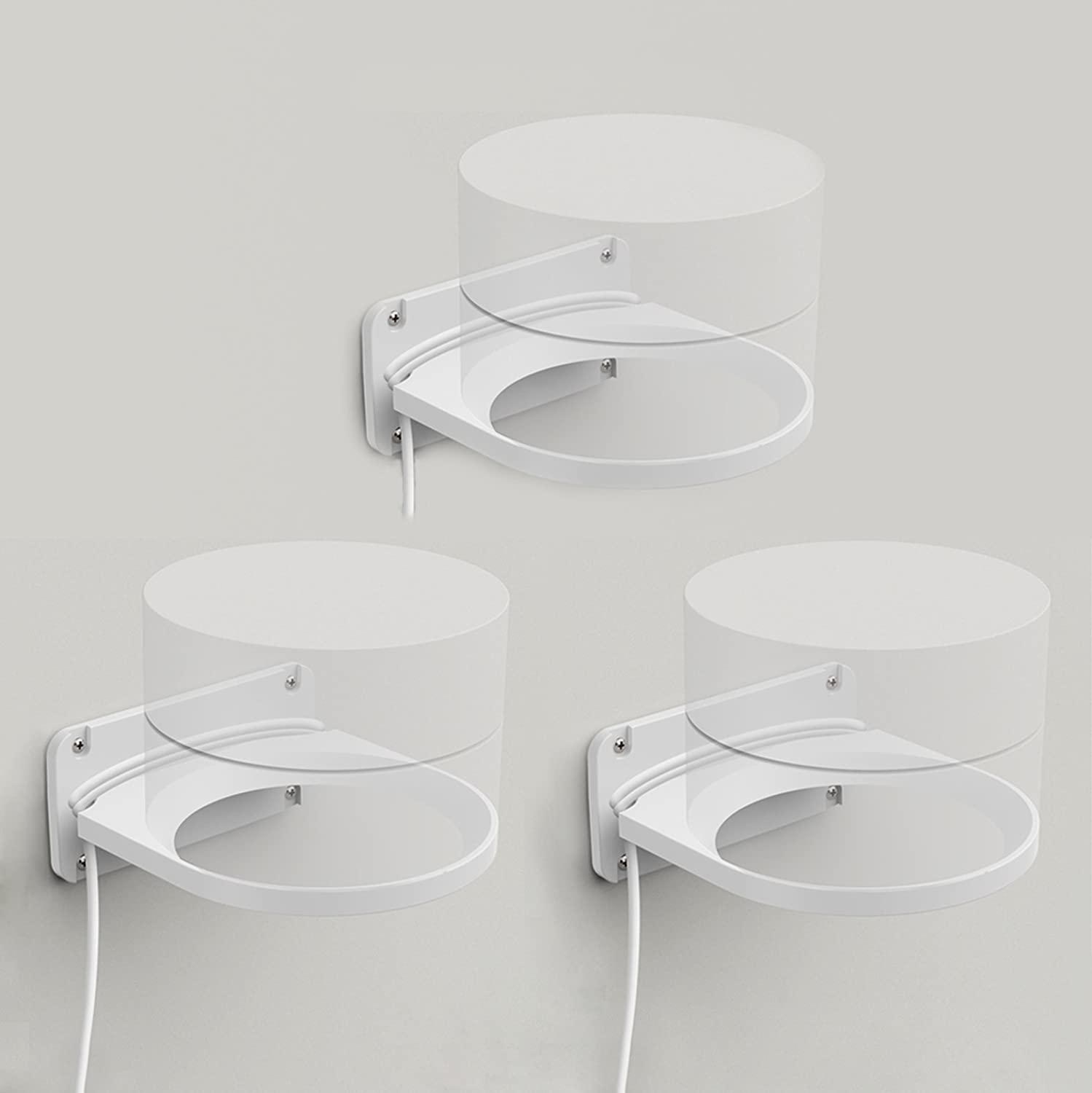 LykusSource Google WiFi Wall Mount Bracket, Signal as Good as Placed On The Table, Built-in Power Cord Organizer (3-Pack) LS-WM-G3