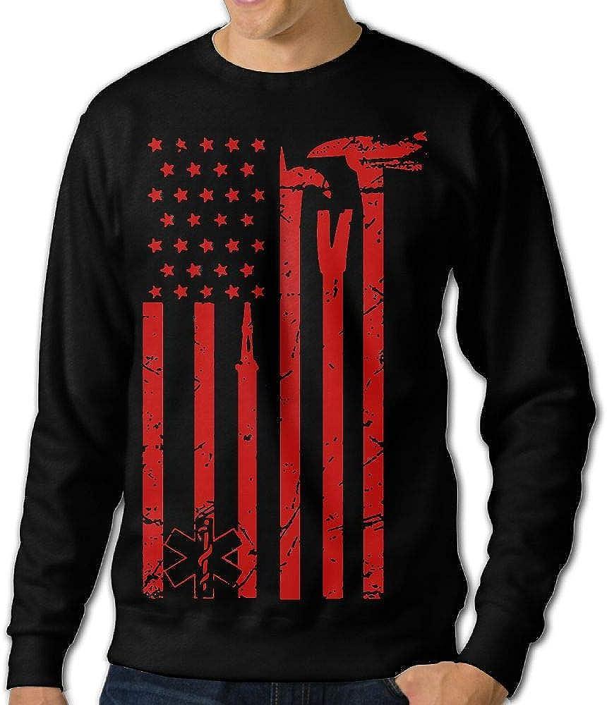 LLiYing-D Fire Department Flag Adult Mens Sports Long Sleeve Sweater T Shirts