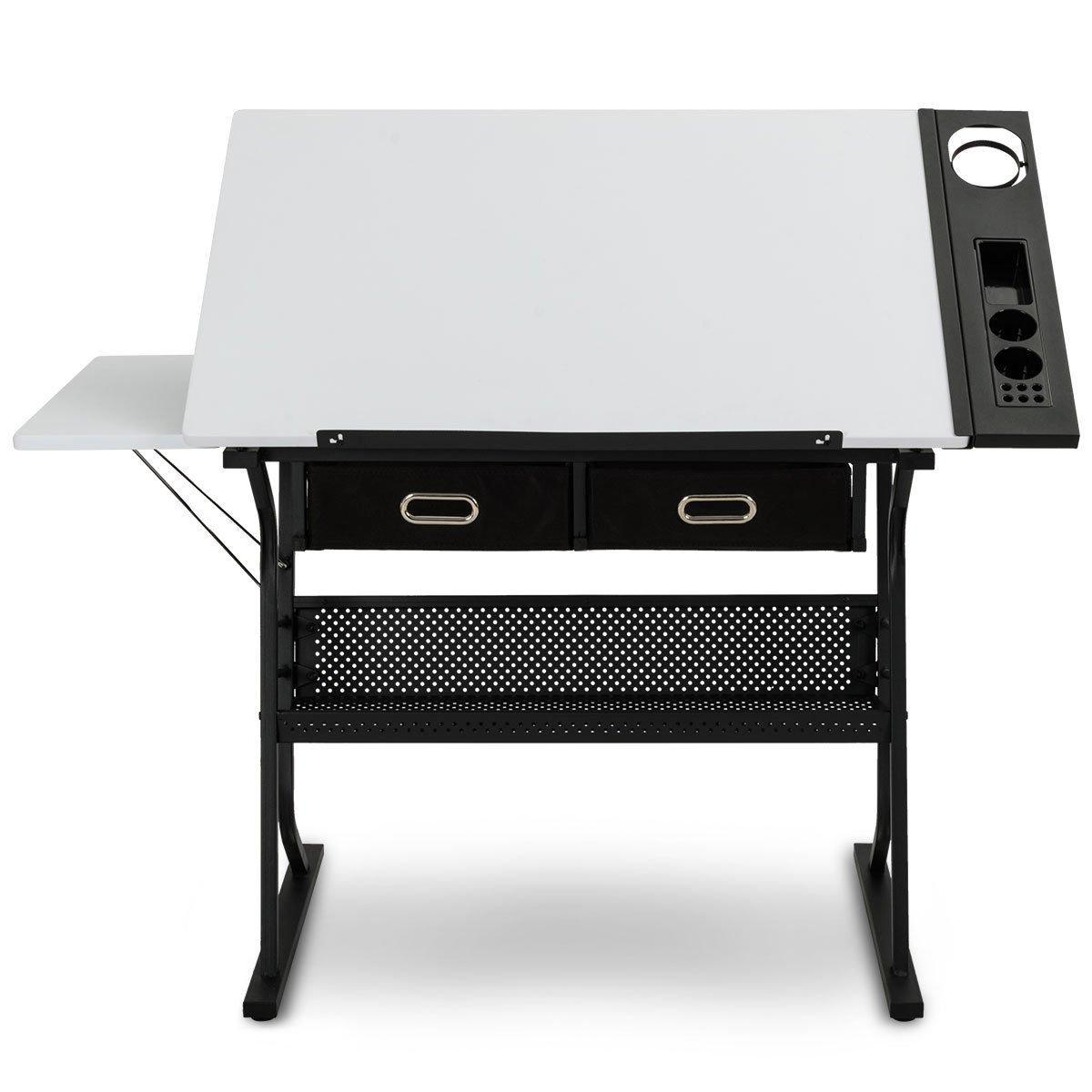 Tangkula Adjustable Drafting Table Art & Craft Drawing Desk Folding with Drawers by TANGKULA