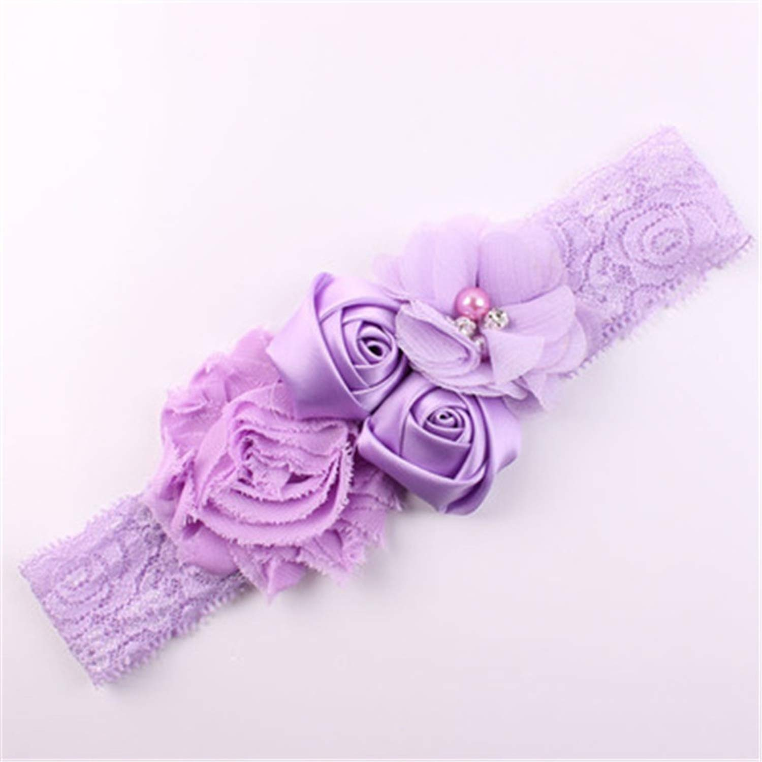 Lace Baby Headband Chic Lace Flower Princess Girlsborn Infant Headwear Bow Headdress For Toddler Hair Accessories,Dark Purple