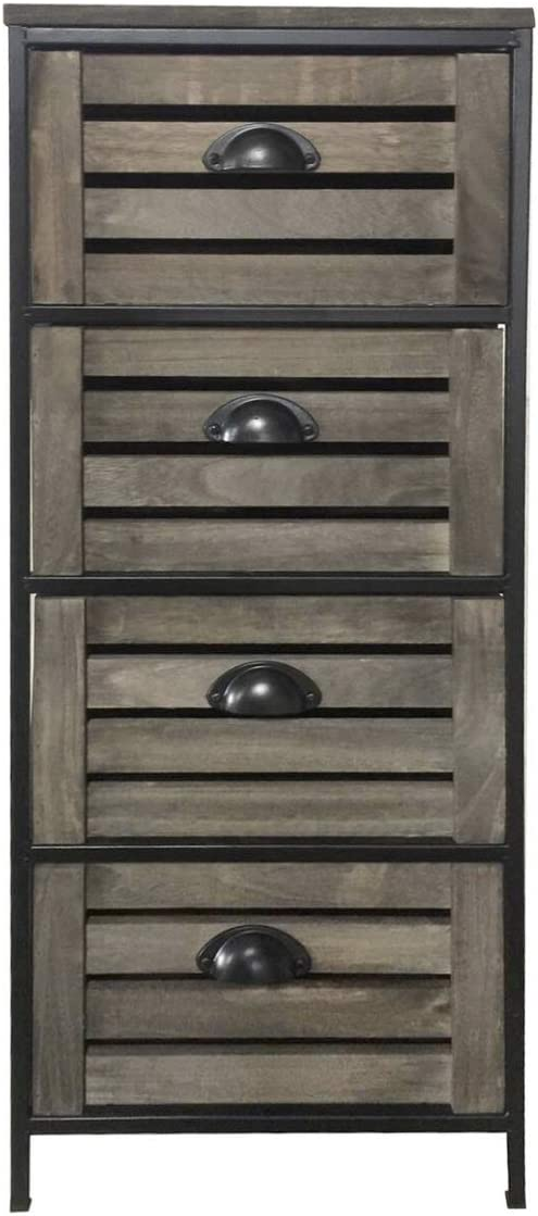 Home Standing Metal-Frame Cabinet with 4 Wooden Drawers