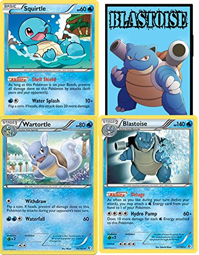 POKEMON -EVOLUTION SET - BLASTOISE / WARTORTLE / SQUIRTLE - BOUNDARIES CROSSED RARE PLUS FREE STICKERS