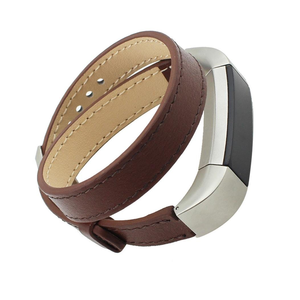 Peanutcool Double Tour Leather Watch Band Strap Bracelet For Fitbit Alta HR (Brown)