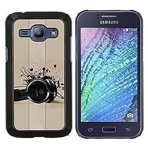 Be-Star Único Patrón Plástico Duro Fundas Cover Cubre Hard Case Cover Para Samsung Galaxy J1 / J100 ( Cuffie Musica di amore vernice nera Art )