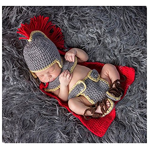 Binlunnu Fashion Newborn Boy Girl Baby Costume Outfits Photography Props Army General Set ()