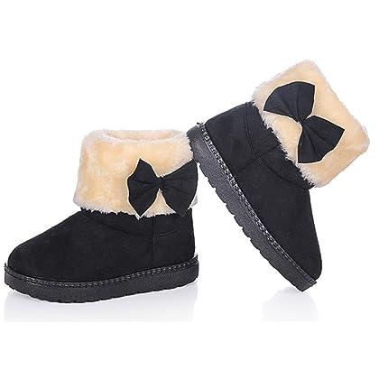 DADAWEN Baby's Girl's Toddler Fashion Cute Bowknot Fur Lining Princess Warm Snow Boots Gray US Size 6 M Toddler