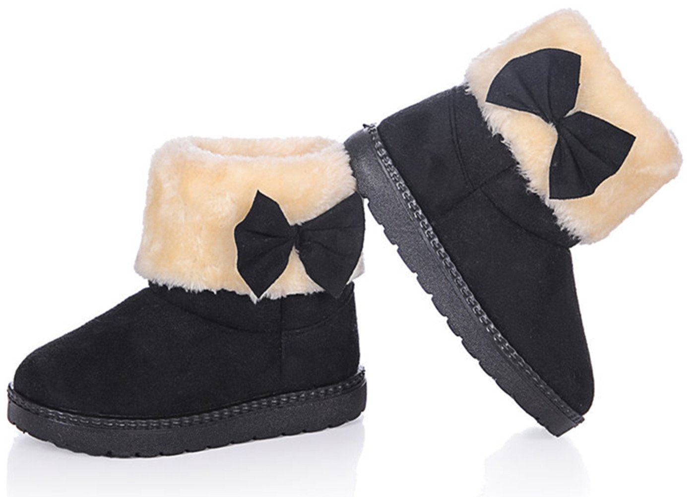 DADAWEN Baby's Girl's Toddler Fashion Cute Bowknot Fur Lining Princess Warm Snow Boots Black US Size 7.5 M Toddler